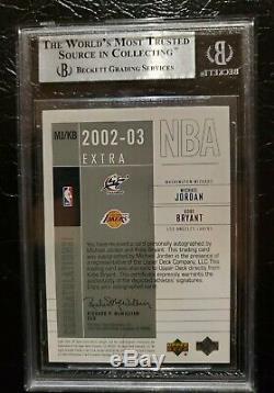 2002 03 SP game used Autograph Rare Kobe Bryant Michael Jordan Auto card 1/25