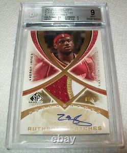 2005-06 SP 5/25 Game Used Authentic Fabrics Auto Patches LeBron James BGS 9 10