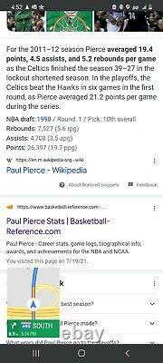 2011 Boston Celtics Authentic NBA Away Game Worn Used Jersey Paul Pierce Signed