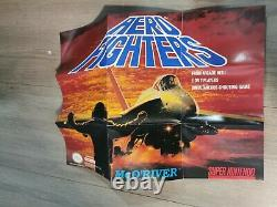Aero Fighters snes cib rare poster, authentic, tested see pics