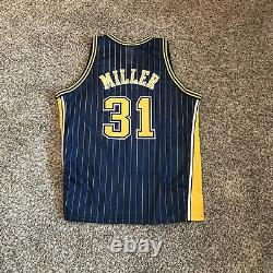 Authentic Reggie Miller Indiana Pacers Retro Pinstripe Game Jersey Procut 48 Vtg