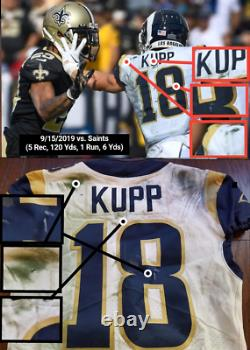 COOPER KUPP 2019 Game Worn Used PHOTO MATCHED NFL RAMS Authentic Football Jersey