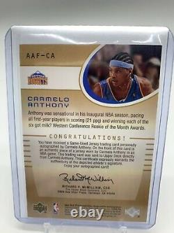 Carmelo Anthony Rookie SP Game Used Authentic Fabrics Auto. #/100