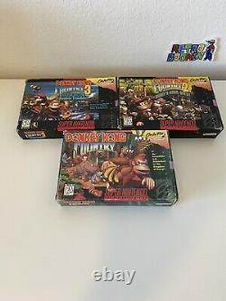 Donkey Kong Country 1 2 3 Trilogy Complete CIB DKC SNES Super Nintendo Authentic