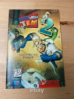 Earthworm Jim 2 Super Nintendo SNES AUTHENTIC CIB Complete BOX MANUAL 1 Owner