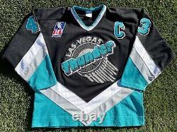 Las Vegas Thunder Vintage 1993-94 Game Worn Used Authentic IHL Hockey Jersey XL