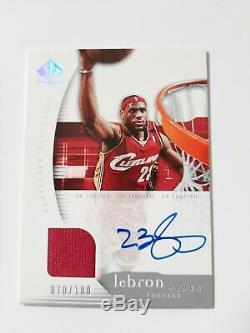 Lebron James 2005 Sp Authentic Game- Used Warm-up On Card Autograph 070/100
