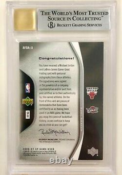 Michael Jordan Lebron James 2006 SP Game Used Authentic Fabrics Dual Patch Auto