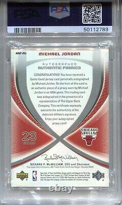 Michael Jordan Psa 10 2005 Ud Sp Game Used Authentic Fabrics Jersey Auto /23 Hof