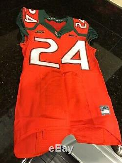 NIKE Miami Hurricanes Game Used Football Jersey Homer #24 Sz. 38 Small Authentic