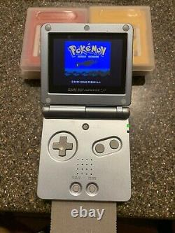 Nintendo GameBoy Advance SP Pearl 101 6 Authentic Pokemon Games Crystal Red Blue