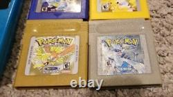 Nintendo Gameboy Color Blue Bundle Lot With ALL AUTHENTIC POKEMON GAMES TESTED