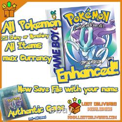 POKEMON CRYSTAL All 251 SHINY GAME Enhanced AUTHENTIC & NEW BATTERY
