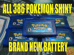 POKEMON SAPPHIRE All 386 SHINY GAME UNLOCKED AUTHENTIC & NEW BATTERY