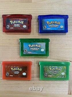 Pokemon Gameboy Advance Games 100% Working And Authentic Lot