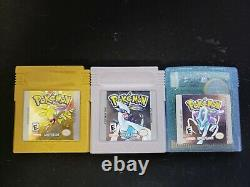 Pokemon Gold, Silver & Crystal Lot (Game Boy Color) Complete / Authentic / Save