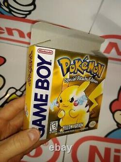 Pokemon Yellow Game Boy Complete in Box CIB 100% Authentic cart/ Cust. Box