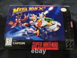 SNES Mega Man X2 CIB Authentic Cart, Insert, tray, HQ Custom Manual & Box COMPLETE