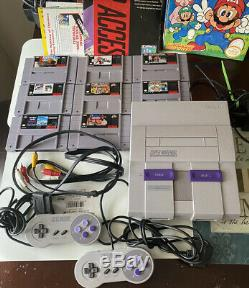 Super Nintendo System Console, Authentic, Bundle (8)Games, Magazines, Tested