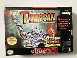 Super Turrican Super Nintendo SNES CIB Complete Authentic with Plastic Protector