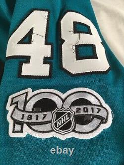 Tomas Hertl Authentic Game Used Jersey San Jose Sharks NHL 2017 Season