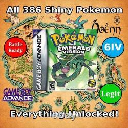 Unlocked Pokemon Emerald Authentic Cartridge All Shiny Pokemon GBA DS
