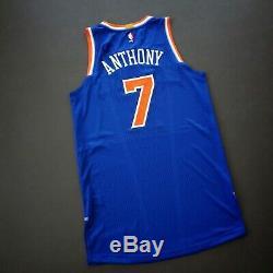 100% Authentique Carmelo Anthony Knicks Jeu Taille Jersey L Délivré + 2 Usé Utilisé