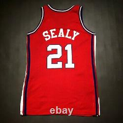 100% Authentique Malik Sealy Champion 94 95 Clippers Jeu Worn Used Jersey 44+4 L