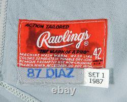 1987 Milwaukee Brewers Edgar Diaz #2 Jeu Utilisé Maillot Gris