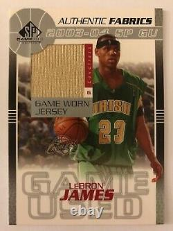 2003-04 Sp Jeu Utilisé Lebron James Authentique Fabrics Spgu Jersey Rookie Rc Insérer