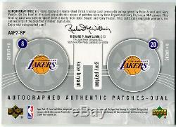 2004-05 Sp Jeu Utilisé Authentique Bryant Kobe Gary Payton Rare Double Auto Patch # / 5