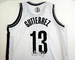2013-14 Brooklyn Nets Jorge Gutierrez #13 Jeu Utilisé White Jersey Short Playoffs