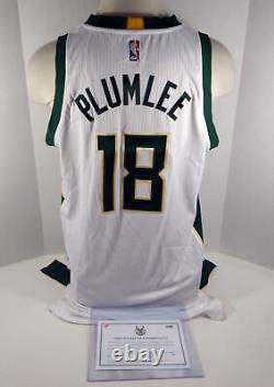 2016-17 Milwaukee Bucks Miles Plullee #30 Jeu Utilisé Green Jersey Dp01050
