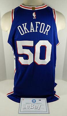 2017-18 Philadelphie Emeka Okafor # 50 Jeu Occasion Bleu Jersey Dp01063