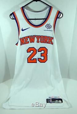 2018-19 New York Knicks Trey Burke # 23 Jeu Utilisé Jersey Blanc Vs Phi 112818 7 Pt