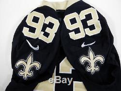 2018 New Orleans Saints David Onyemata # 93 Jeu Utilisé Noir Jersey Benson Patch