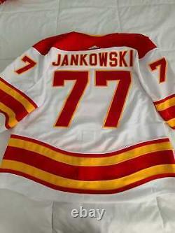 Adidas MIC Calgary Flames Jeu Authentique Porté Le Maillot Utilisé Mark Jankowski Retro