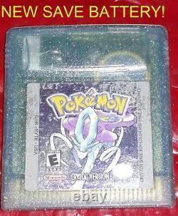 Authentic Pokemon Crystal Version Avec Nouvelle Batterie Save! Couleur Gameboy Remise À Neuf