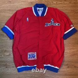 Authentic & Rare 91 Jeu Worn Washington Bullets Warm Up Jacket Taille 44
