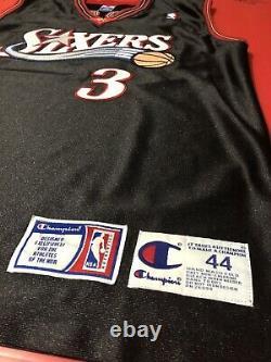 Authentique Allen Iverson Philadelphia Sixers Cousu Nba Game Jersey Procut Vtg M 44