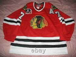 Authentique Chicago Blackhawks Chelios 1992 Stanley Cup Finals Game Jersey 48 CCM