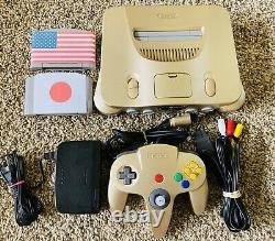 Authentique Gold Nintendo 64 N64 Oem Console Set + Games Region Free Fast Ship