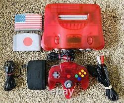 Authentique Pastèque Clear Red Nintendo 64 N64 Console Oem + Games Region Gratuit