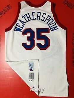 Authentique Philadelphia 76ers Weatherspoon Jeu Utilisé Jersey Cousu Procut Iverson