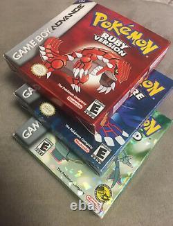 Authentique Pokemon Ruby, Saphir Et Emerald Complete