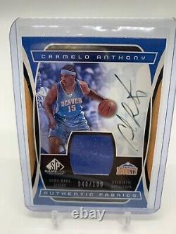 Carmelo Anthony Rookie Sp Jeu Utilisé Tissus Authentiques Auto. #/100
