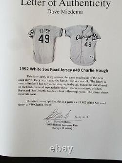 Charlie Hough Jeu 1992 A Utilisé Porté Le Maillot De La Route Des White Sox, Miedema Assermentée