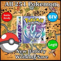 Déverrouillé Pokemon Crystal Tous Les 251 Pokemon Brillant + Max Articles Gbc Authentique