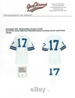 Don Meredith # 17 Jeu Utilisé 1966 Jersey Cowboys De Dallas Gris Flanelle Assermentée