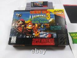 Donkey Kong Country 3 Snes Super Nintendo Complet Dans La Boîte Cib Authentic